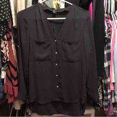 H&M Sheer Blouse Size 2 Brand new without tags. Sleeves can be worn cuffed. H&M Tops Blouses