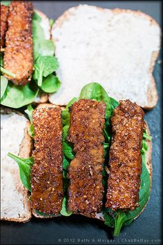 Tempting Tempeh Bacon Strips -- really adds a delicious flavor to an avocado, lettuce, tomato sandwich!