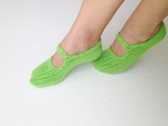 Neon Green  Healthy Booties Home slippers Dance by NesrinArt