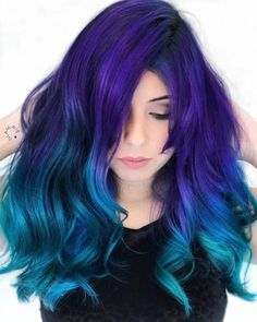 Purple to blue ombre, blue hair colors, turquoise hair ombre, aqua hair, . Turquoise Hair Ombre, Blue Ombre Hair, Hair Color Purple, Cool Hair Color, Green Hair, Purple To Blue Ombre, Vivid Hair Color, Violet Hair, Pastel Hair