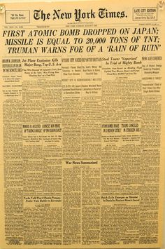 August The headlines the day after the Little Boy was dropped. Newspaper Front Pages, Old Newspaper, Newspaper Headlines, The Headlines, Hiroshima, Drame, Interesting History, Historical Pictures, History Facts