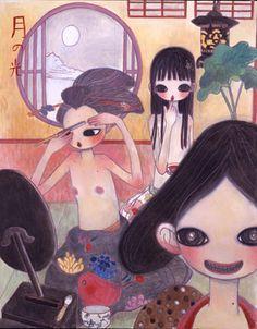 "Aya Takano, ""On A Moonlight Night, Their Teeth Painted Black"" (2004), acrylic on canvas, Galerie Emmanuel Perrotin, Paris."