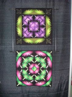 mine and Cheryl Haynes' interpretations of George Siciliano's pattern, Glow in the Dark