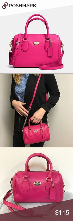 "Coach Pink Ruby Baby Bennet Satchel 🎀 Coach Baby Bennet Satchel in Pink Ruby. Features crossgrain leather with light gold hardware. Inside zip and multifunctional pocket. Zip-top closure. Handles with 3"" drop, longer strap 21 1.5"", 7 3/4 length and 4 3/4"" height and 3 1/2 width. Wear off shoulder or as a crossbody. So cute on and fun to wear. Excellent used condition, only worn a handful of times 🎀 Coach Bags Crossbody Bags"