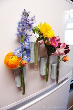 DIY Magnetic Test Tube Vase - The pretties way to add some fun and color to your kitchen! - BusyBeingJennifer.com