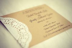 Vintage Typewriter Wedding Place Cards Rustic Lace por postscripts