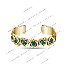 Round Green Sapphire 14K Yellow Gold FN 925 Sterling Silver Heart Shape Toe Ring #br925 #HeartShapeRing