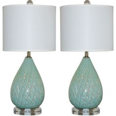 1stdibs | Minty Blue Tear Drop Murano Bedside Table Lamps by Giorgio Ferro