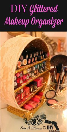 Diy glitter makeup brush holder and matching makeup brushes diy diy glitter makeup organizer solutioingenieria Gallery