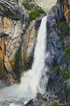 Lower Yosemite Falls (watercolor by Marilyn Wear)