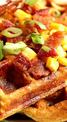 Cheddar Bacon Cornbread Waffles Recipe - savory take on waffles, filled with crispy bacon, freshly grated cheddar cheese, sweet corn and nicely seasoned with Ranch mix! Cornbread Waffles, Savory Waffles, Breakfast Waffles, Savory Breakfast, Cornbread Recipes, Pancakes, Best Breakfast Recipes, Brunch Recipes, Sweet Recipes