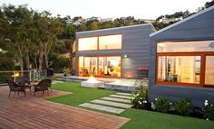 a modern house+ modern back yard