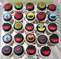 Homemade Eggless Custom Doraemon, Mickey, Spiderman, Monster Cookie, Lady Bugs theme cupcakes at Kidzee Pashan