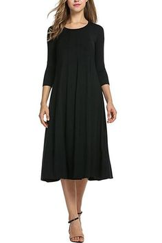 aa66d52bc3a As the name states this Trendy Solid Black 3 4 Sleeves Midi Dress Ruffled  Hemline