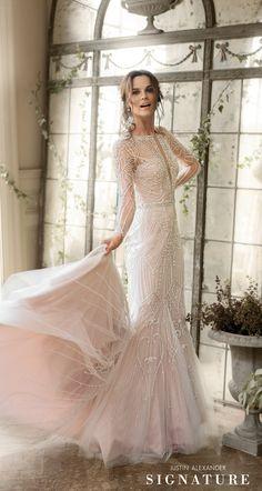 Style 9894: Plunging V-Neck Allover Beaded Fit and Flare Wedding Dress #justinalexandersignature #weddingdress #fitandflaredress #beadeddress #modernweddingdress #dramaticweddingdress