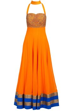 Orange and blue cutwork anarkali: Featuring an orange viscose floor length anarkali with blue and gold border detailing and zardosi embroidered cutwork yoke. It has a top collar and cut out details at back. It comes along with a blue lycra net churidaar and mustard dupatta with blue border - AKSHAY WADHWA