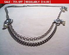 J Crew chunky rhinestone chain necklace statement by vintagebyrudi