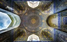 Iranian photographer Mohammad Domiri has captured an incredible series of photographs that show the opulence of Iranian ceilings and architecture.  Above: Shah (Imam) mosque, Isfahan CREDIT: MOHAMMAD DOMIRI/REX SHUTTERSTOCK