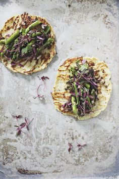 Grilled spring veggies with cauliflower Tortillas: 2-3 small heads of cauliflower or enough to make 3 cups packed riced cauliflower, cut into medium chunks, core removed 1 whole egg 4 egg whites 1/2 tsp salt