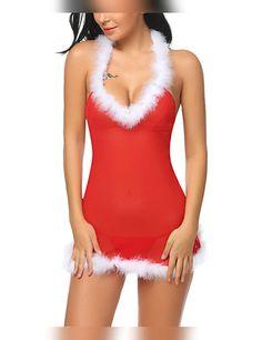 6749e4435f96 Christmas Lingerie Babydoll Halter Lingerie Red Christmas Chemises Set   christmaslingerie  sexylingerie  eroticlingerie Sexy
