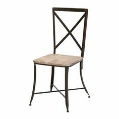 "Add a touch of industrial-chic style to your kitchen or breakfast nook with this wood and metal chair, featuring an openwork x-back in brown.     Product: Chair   Construction Material: Metal and wood      Color: Distressed natural and brown     Dimensions: 36"" H x 16"" W x 16"" D"