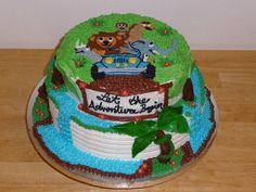 Jungle Safari Baby Shower Cake by Sweet Nothings Bakery - https://www.facebook.com/TinasSweetNothings