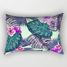 Purple Green Pillow, Tropical Home Decor, Green Throw Pillow, Hollywood Glam Accent Pillow, Tropical Leaf Pillow, Leaf Print Lumbar Pillow by OlaHolaHolaBaby on Etsy