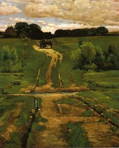 Hassan, Childe  (American IMpressionist Painter 1859-1935)  A Back Road, 1884 Oil on canvas Height: 79.38cm (31.25 in.), Width: 63.5cm (25 in.) Brooklyn Museum of Art