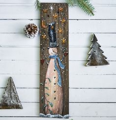 Primitive snowman sign, snowman painting on wood, Christmas art, holiday decor primitif Christmas Wood, Christmas Signs, Christmas Crafts, Christmas Ornaments, Snowman Decorations, Christmas Decorations, Palette Deco, Wood Crafts, Diy Crafts