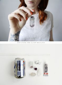 Fall For DIY tutorial Raw Stone and Silver necklace