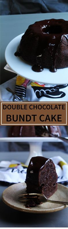 Double Chocolate Bundt Cake - A cheat's way to a rich and delicious bundt cake that comes together in under 10 minutes. The ganache frosting just makes this cake even more special!