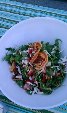 Arugula with strawberries,and pancetta. Balsamic vinaigrette