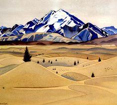 Mount Maud by Rita Angus 1938 Watercolor Landscape, Landscape Paintings, Landscapes, Watercolour Art, Oriental, New Zealand Landscape, New Zealand Art, Nz Art, Art Folder