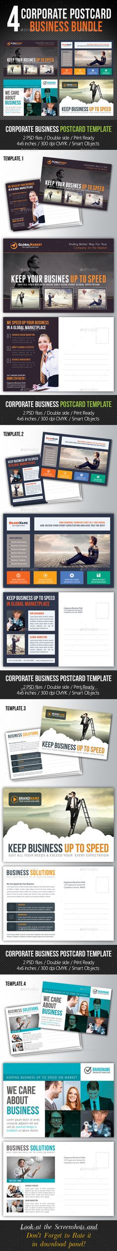 4 in 1 Corporate Business Postcard Bundle V02 - Cards & Invites Print Templates