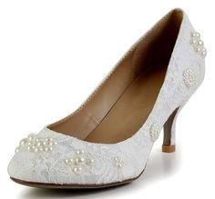 Honeystore Women's Lace with Pearls Mid Heel Bridal Pumps White 5.5 B(M) US
