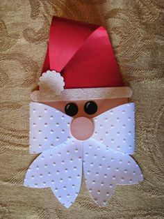 The CREW Quarters: Decorate you packages with this fun Santa Bow & a garland! by kindergarden Christmas Gift Wrapping, Christmas Paper, Christmas Projects, Holiday Crafts, Stampin Up Weihnachten, Gift Bows, Theme Noel, Christmas Decorations, Christmas Ornaments