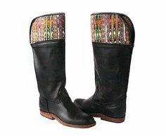 Guatemalan Boots - Handmade boots - Fauna Riding Boots - With Joyabaj stripes corte on top, these boots are just beautiful. Guatemalan women, artisan in Guatemala #guatemalanboots #handmadeboots #guatemala #customboots #handmade #boots #GuateBoots www.nawalboots.com