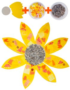 Sunflower Collage for preschool to kindergarten. Can also be used to teach along with van Gogh.