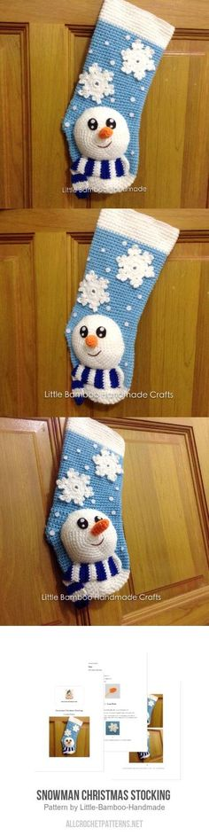 Snowman Christmas Stocking  Crochet Pattern for purchase
