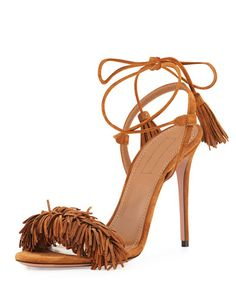 Get the must-have pumps of this season! These Aquazzura Wild Thing Open Toe Fringe Sandals Brown Pumps are a top 10 member favorite on Tradesy. Ankle Strap High Heels, Ankle Wrap Sandals, Ankle Strap Shoes, Strappy Sandals Heels, Strap Heels, Strap Sandals, Women Sandals, Stilettos, Jimmy Choo