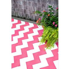 Chevron Fuchsia and White Indoor Outdoor Rug from PoshTots **cg** Looks like pink won out
