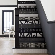 Your wall or staircase is your canvas. Good news for renters: a self-adhesive wallpaper backing makes it removable.