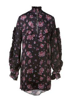 MAGDA BUTRYM Magda Butrym Floral Printed Black Silk Sicily Dress. #magdabutrym #cloth #