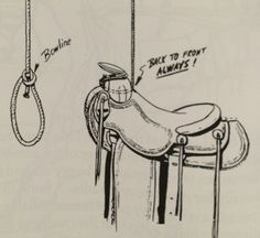 Here is a good way to hang a saddle if you don't have a place to set it and all you need is a rope.