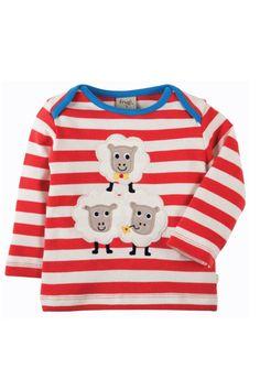 797bdc26e4d3a5 Frugi Baby und Kinder Langarmshirt Schafe rot-geringelt
