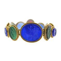 Early Victorian Roman Motif Glass Tassie Link Bracelet   From a unique collection of vintage link bracelets at https://www.1stdibs.com/jewelry/bracelets/link-bracelets/
