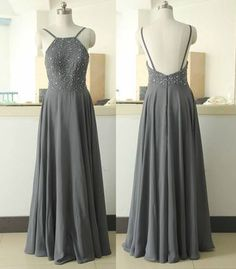 Custom Made Charming Chiffon Prom Dress,Beading Evening Dress,Sexy Backless Party Dress,Floor Length Graduation Dress,