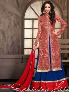 Red with Blue Lehenga Style Anarkali Suit 6002AM