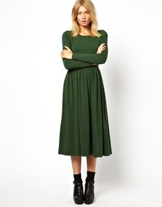 Asos Forest Green Midi Dress with Long Sleeves $49.83