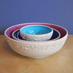 nesting serving bowls in color pop on Etsy, £15.00